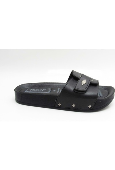 Apella 1 Siyah Kadın Düz Taban Cırtlı Comfort Günlük Terlik - Bulut Ayakkabı - Siyah - 36