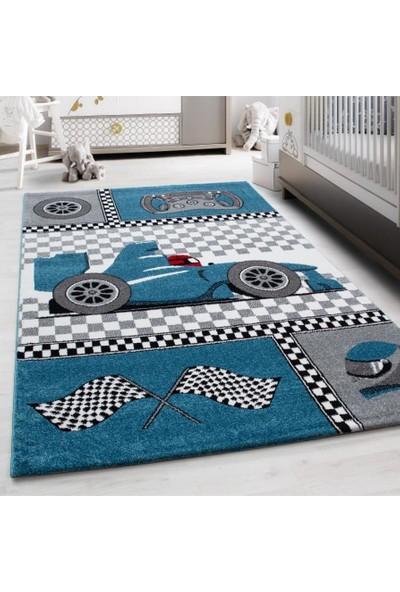 Ayyıldız Çocuk Halısı Yarış Araba Desenli Mavi Gri