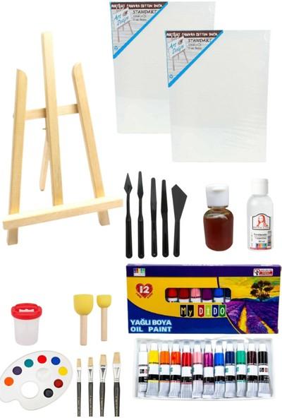 Oyun ve Sanat Masa Üstü Şövale, Yağlı Boya, Tuval, Resim Seti