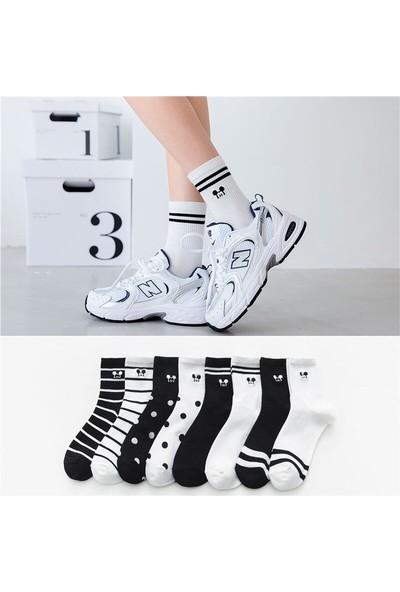 Çorapmanya 8 Çift Çok Renkli Mouse Desenli Çizgili Pamuklu Kolej Tenis Çorap