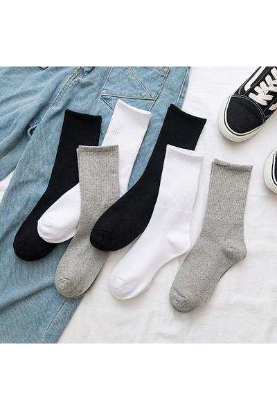 Çorapmanya 6 Çift Siyah/beyaz/gri Çizgisiz Pamuklu Kolej Tenis Çorap