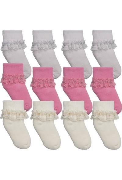 Ilbaş 12 Çift Dantelli Renkli Iz Yapmaz Bebe Çorap