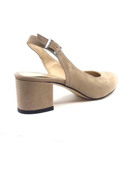 Gizsah Ten Arkası Açık Süet Alçak Topuklu Kadın Ayakkabı
