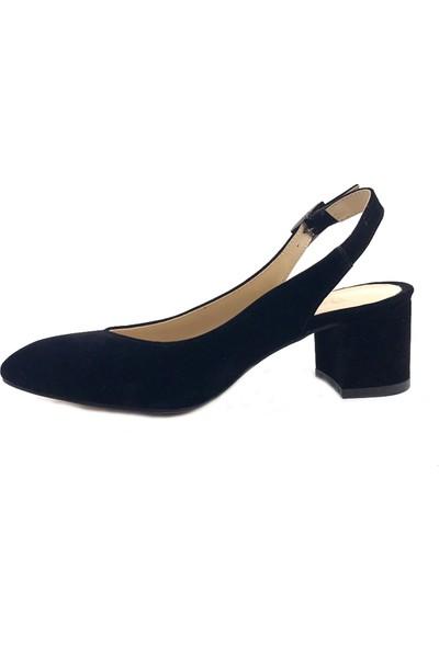 Gizsah Siyah Arkası Açık Süet Alçak Topuklu Kadın Ayakkabı