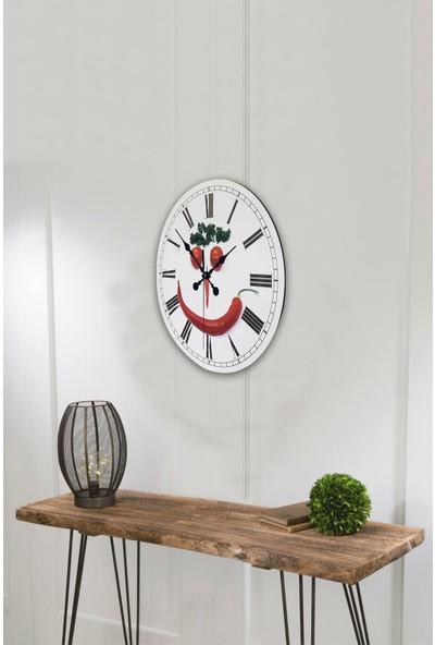 Platin Saat 35 cm Ahşap Mutfak Duvar Saati