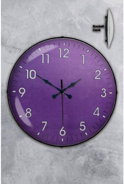 Platin Saat 35 cm Bombeli Gerçek Camlı Mor Duvar Saati