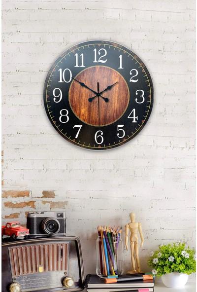 Platin Saat 35 cm Ahşap Ahşap Siyah Duvar Saati