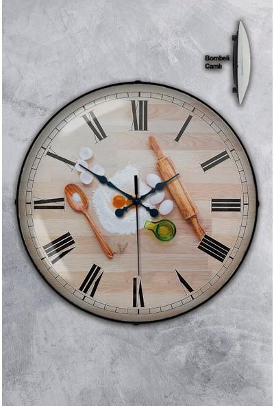 Platin Saat 35 cm Bombeli Gerçek Camlı Mutfak Duvar Saati