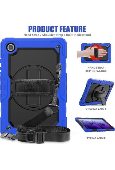 """Wowlett Samsung Galaxy Tab S6 Lite 10.4"""" P610 Kılıf Full Protection Zırh Standlı Askı Ipli Kılıf Mavi"""