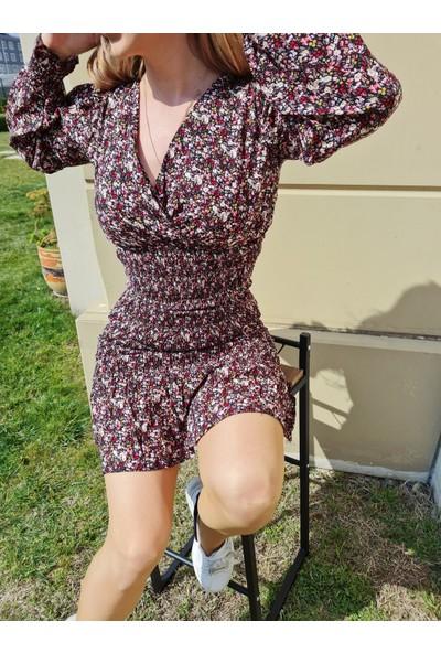 Liyalvy Kahverengi Çiçekli Elbise