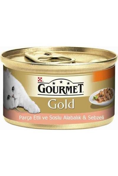 Gourmet Gold Parça Etli Soslu Alabalık Sebzeli Kedi Konservesi 12'li Set