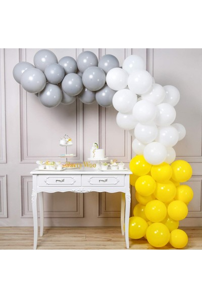 Doğumgünü Marketim 50 Adet Metalik Balon ve 5 Metre Balon Zinciri (Sarı - Gümüş - Beyaz)