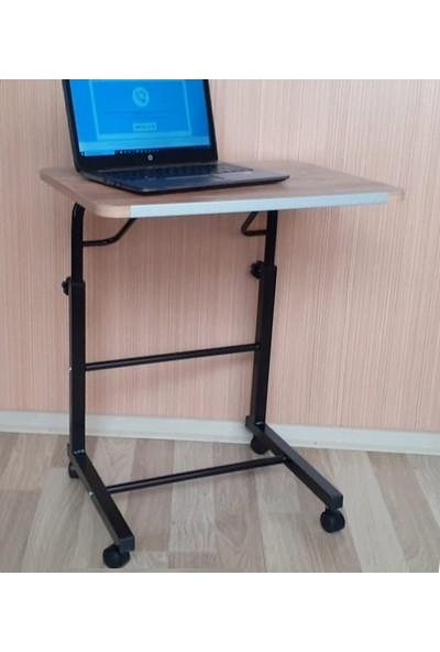 Depolife Tekerlekli Notebook Laptop Bilgisayar Ders Çalışma Masası Eğim ve Yükseklik Ayarlı Akrobat Servis Masası