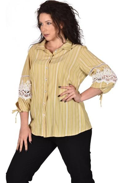 Ultimod Hardal Çizgili Kolu Güpür Detaylı Büyük Beden Kadın Gömlek ULT3223