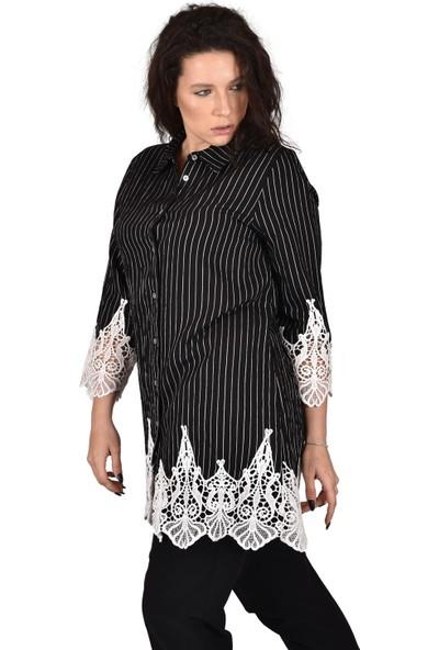 Ultimod Siyah Çizgili Kol ve Etek Ucu Dantel Detaylı Büyük Beden Kadın Gömlek ULT3222