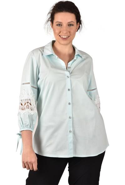 Ultimod Mint Kolları Güpürlü Büyük Beden Kadın Gömlek ULT3224
