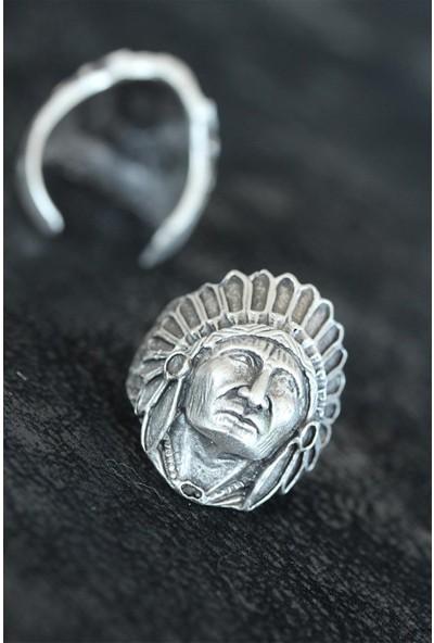 Bir Dolu Çeşit Kızılderili Eskitme Gümüş Renk Metal Ayarlamalı Erkek Yüzük
