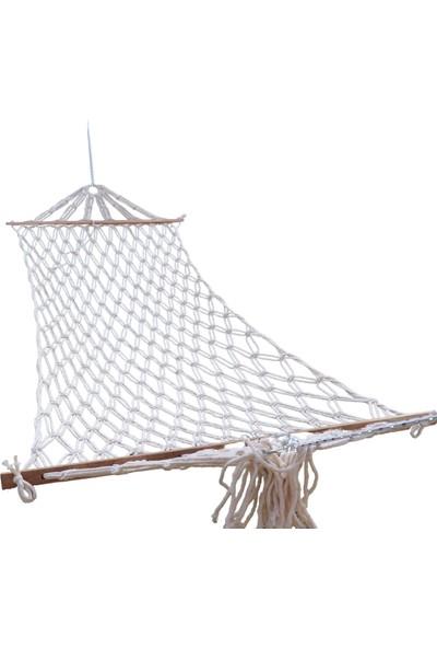 Eniyisiniiste Çift Kişilik Çift Kat Örgülü Pamuk Hamak Bağlama Ipli En 130 cm x Boy 2,5 M 300 kg Taşıma