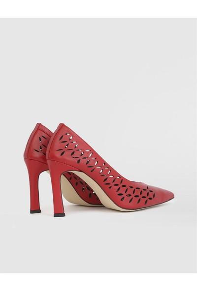 İLVİ Ella Deri Kadın Kırmızı Stiletto
