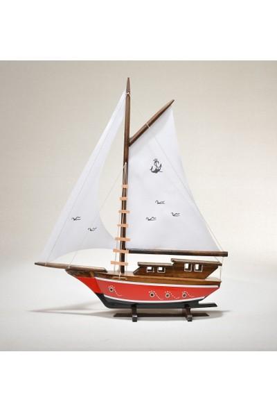 Hediyelik Eşya Dükkanı Bez Yelkenli Açık Yat Modeli - Gemi Tekne Sandal Maketi (Bay1)