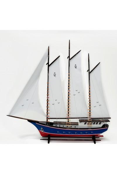 Hediyelik Eşya Dükkanı Bez Yelkenli Açık Yat Modeli - Gemi Tekne Sandal Maketi (Bay4)
