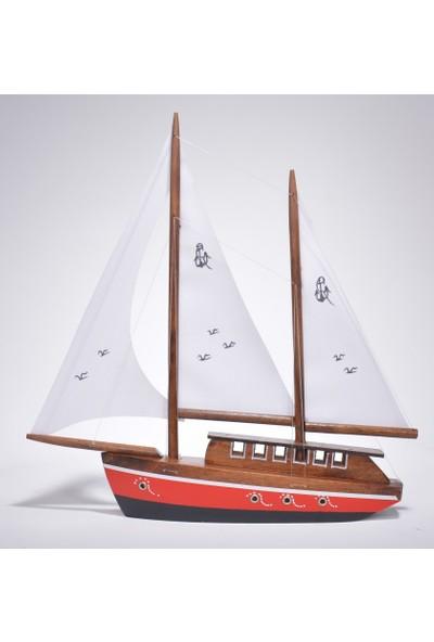 Hediyelik Eşya Dükkanı Bez Yelkenli Düz Yat Modeli – Gemi Tekne Kayık Maketi(Dbm-3)