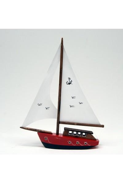 Hediyelik Eşya Dükkanı Bez Yelkenli Düz Yat Modeli – Gemi Tekne Kayık Maketi(Dbm-2)