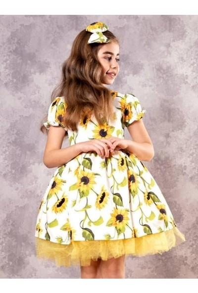 Riccotarz Kız Çocuk Ayçiçek Desenli Tütülü Sarı Elbise