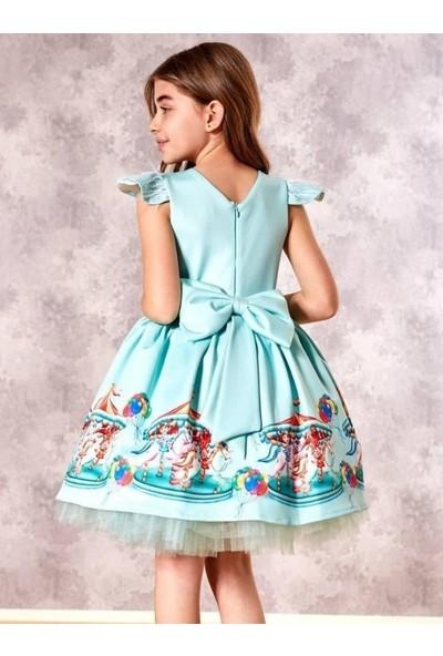 Riccotarz Kız Çocuk Tüylü Atlı Karınca Yeşil Elbise