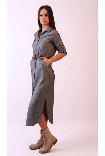Aclassics Gri Önden Düğmeli Uzun Elbise