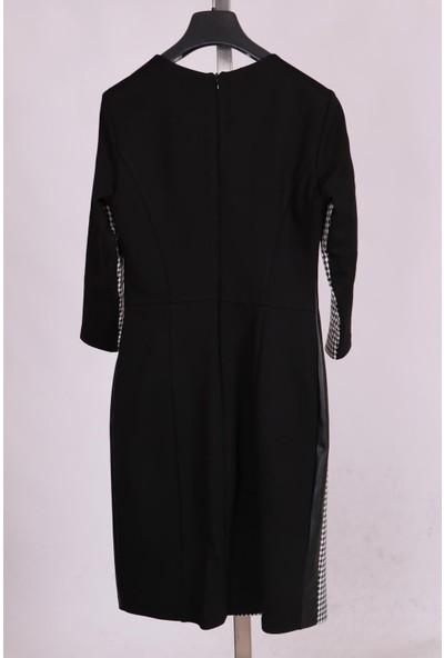 Aclassics Siyah Bisiklet Yakalı Derili Kazayağı Desenli Elbise