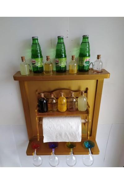Bahat Altın Varaklı Mutfak Terek Rafı Havluluk Kadehlik Baharatlık Seti 44*50 cm