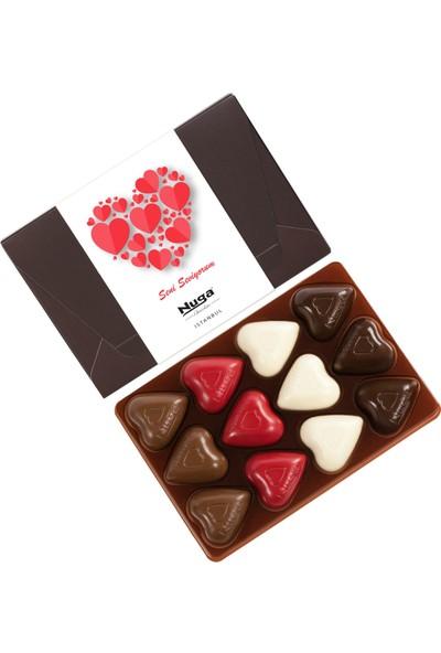 Nuga Seni Seviyorum Kuşaklı Kutu Kalpli Çikolata