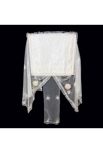 Ekinci Çamaşır Makinesi Örtüsü Lüx Serisi Krem Boncuklu Model 41