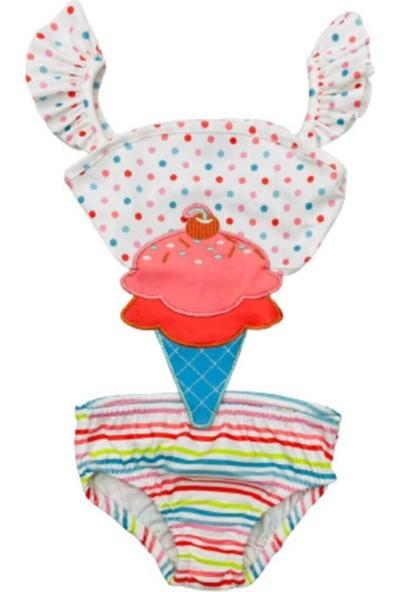 Kids Wear Kız Çocuk Mayokini Dondurma Temalı Puantiyeli- Kol Fırfırlı - Son Sezon Kostüm