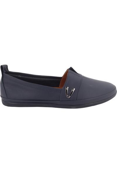 Beety Lacivert Deri Kadın Günlük Babet Ayakkabı 111-61