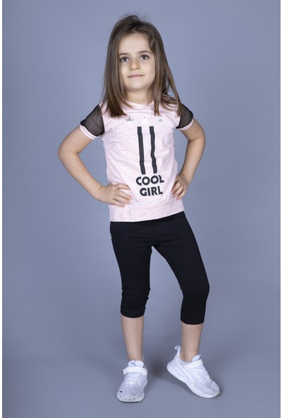 Toontoy Kız Çocuk File Detaylı Taytlı Takım