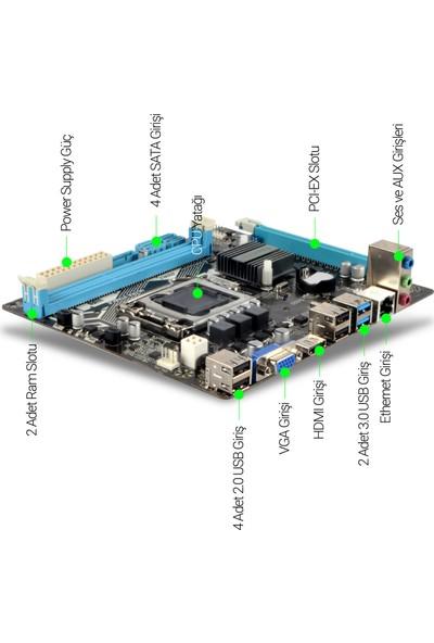 Esonic H81JEK 1600 Mhz Ddr3 + Intel® Core™ İ3-4130 1150 Pin + Ramtech 4gb Ddr3 1333MHZ Ram 1.5W + Snowman M200 Raınbow Bundle Set