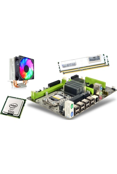 Turbox X58 Intel X58 1600 Mhz Ddr3 + Intel® Core™ X-5550 1366 Pin Xenon + Ramtech 8gb Ddr3 8500R Ecc Server Ram Soğutuculu + Snowman M200 Cpu Soğutucu Fan Rainbow Bundle Set