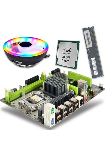 Turbox X58 Intel X58 1600 Mhz Ddr3 + Intel® Core™ E-5620 1366 Pin Xenon + Ramtech 8gb Ddr3 10600R Ecc Ram + Snowman M105 Cpu Soğutucu Fan Rainbow Bundle Set