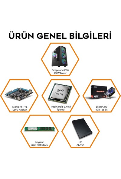 Fulltech Hidra Intel Core I3 3220 8 GB 120 GB SSD R7 240 Oyuncu Kasa