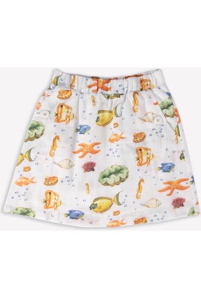 Ozmoz Kız Çocuk Balık Desenli Yazlık Etek