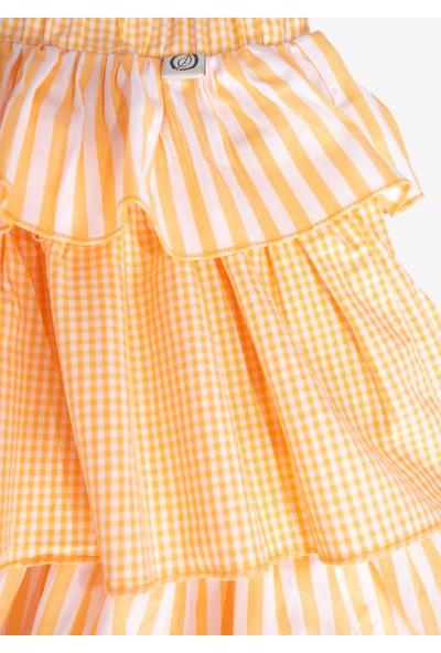 Ozmoz Fırfırlı Kız Çocuk Yazlık Etek-Turuncu