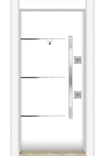 Mono Çelik Kapı MN-1744 Sol Lux Laminoks Kromlu Beyaz Çelik Kapı