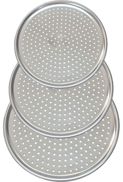 Vip Kitchen Lüx Çelik Delikli Pizza Tepsisi 28-31-36 cm 3'lü Set