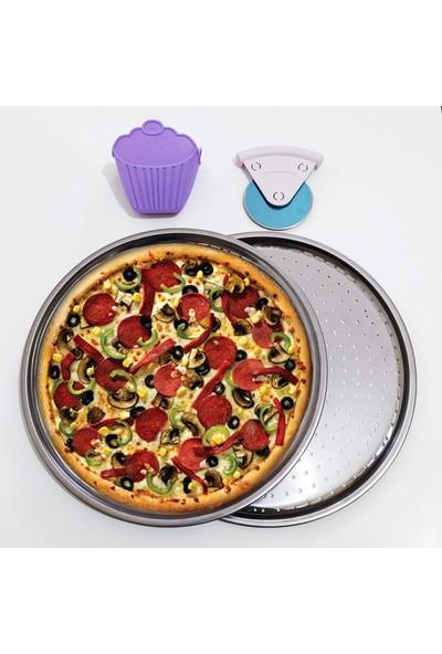 Çelik Delikli Pizza ve Lahmacun Tepsisi Eldiven ve Kesici - 4 Par