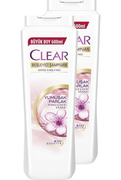 Clear Kadınlara Özel Yumuşak Parlak Kiraz Çiçeği Şampuan 600 ml x 2li Set