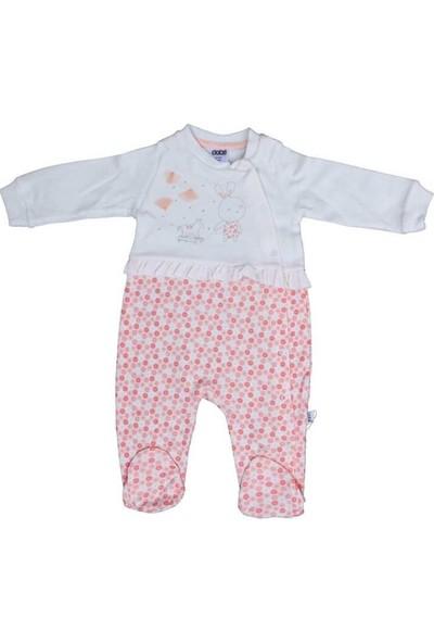 Sebi Bebe 1012 Kız Bebek Desenli Pamuklu Tulum