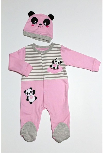 Sebi Bebe 7001 Kız Bebek Patikli Pembe Tulum Şapka Takım