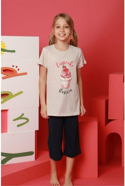 Hmd 8090 Cupcake Kız Çocuk Pamuklu Kısa Kol Kapri Takım